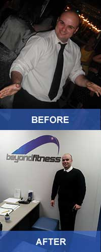 Photo: Justin's before and after photos, showing that he has lost weight.