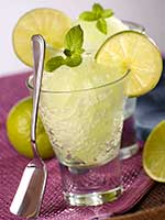 Photo: Granita in a clear glass with a sliver spoon leaning against it, and slices of lemon and mint as decoration.